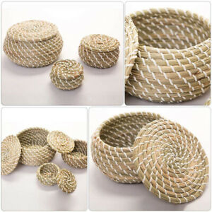 Natural Seagrass Woven Round Wicker Basket Storage Bread Chip Snack Bowl w/ Lid