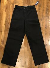 New Old Navy Boys Sz 12 Slim Black Flat Front School Uniform Pants Adjustable
