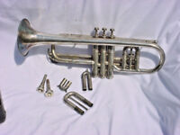 ANTIQUE CONN NEW WONDER CORNET WITH EXTRA SLIDES LP AND DIAL ADJUSTMENT