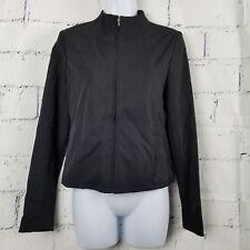 Ralph Lauren woman size XS Black Zip Front Jacket nylon stretch long slv lined