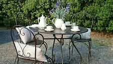 FRENCH GARDEN SET round TABLE +4 CHAIRS bistro  OUTDOOR antique brown NEW