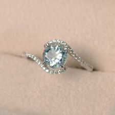 Awesome 2.65Ct Round Cut  Aquamarine Wedding Ring Certified 14K White Gold.