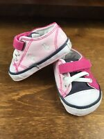 Cute Baby Girl Polo Ralph Lauren Designer Pink Pram Pumps Crib Shoes UK 0.5