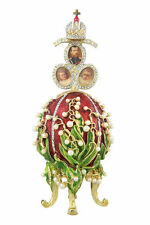 Faberge Egg / Music Box Flowers & Russian Emperor Crown photo frames 6.3'' red