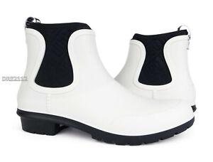 UGG Chevonne White Black Rain Boots (All Sizes) NEW