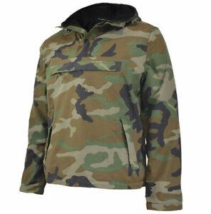 Surplus ANORAK Windbreaker Hooded Mens Wind Rain Jacket Warm Fleece Woodland