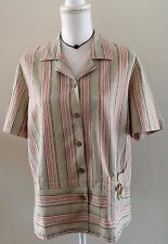 Napa Valley Muted Tones Striped Short Sleeve Linen Top W/ Tie Pouch Pocket SZ L
