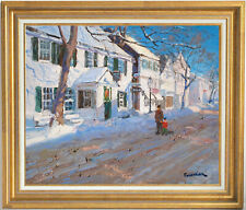 SNOW IN MARTHA'S VINEYARD~LISTED ARTIST~ORIGINAL OIL PAINTING MARC FORESTIER