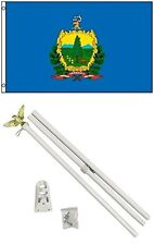 3x5 State of Vermont Flag White Pole Kit Set 3'x5'