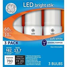 GE LED Bright Stik Light Bulb Soft White 2 Packs 3 Piece Set Each Kitchen Office