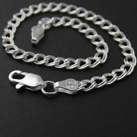 "Sterling Silver Double Link Charm Bracelet - 7"" and 8"" Options Charm 925 Silver"