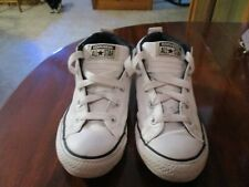 Converse All Star White Leather Youth Kids Size 2.5 Tennis Shoes Sneakers