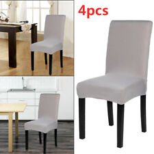 4Pcs Gray Chair Covers Removable Stretch Slipcovers Dining Room Spandex Fabric