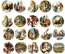Vintage inspired Alice in Wonderland 30 1.5 assorted glossy stickers party favor