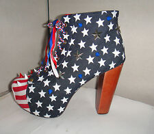 CHELISE CUSTOMISED ONE OFF USA FLAG STARS PLATFORM SPIKE STUD KITSCH BOOTS 5 38