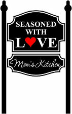 Mom's kitchen decal, seasoned with love decal, kitchen vinyl sticker, wall art