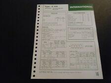 FICHE TECHNIQUE RTD INTERNATIONAL TRACTEURS AGRICOLES 624/654 TYPE D 206