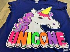 Justice Girls Navy Large Multi Color Glitter UNICONE T-shirt Size 10