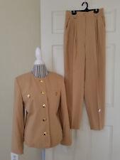 APART Ladies 2 Pc. High Waist Pants & Blazer Suit Sand PolyRayon Sz. 10