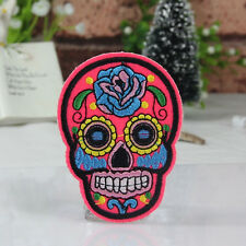 DIY Skull Patch Embroidered Cloth Iron On Sew Motif Applique TO