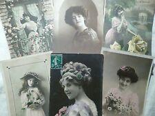 lot de 6 cpa femme postcard antique woman cartolina donna AK frau carte postale