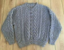 "Ladies Aran Cardigan UK 24 Hand Knit Brown Tweed Button 54"" Soft XXL Oversized"