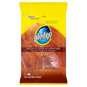 Pledge Wood Floor Wipes - 1 Pack (12 Extra Large Wipes)