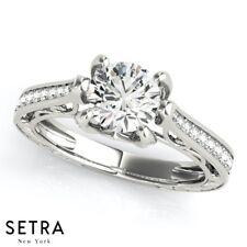 14K Fine Gold Diamond Engagement Ring Unique Antique Ring