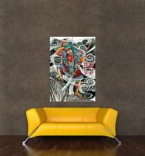 Poster Print Pintura Tatuaje Diseño Oriental Japanese Samurai Warrior seb978