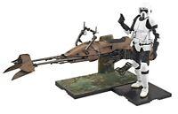 New Star Wars Scout Trooper & Speeder Bike 1/12 Scale Model Kit Bandai Japan