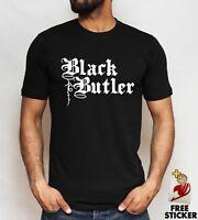 Black Butler Logo T Shirt Sebastian Ciel Yes My Lord Anime Black and White Mens