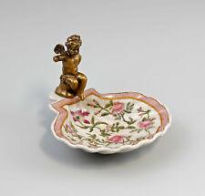 9937900 Keramik Messing Muschelschale mit Putto Blumen Jugendstil