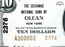New listing Low Serial # 3 - 1929 $10 Nbn - Exchange Nat Bank Olean Ny - Pmg Cu 64 with Epq