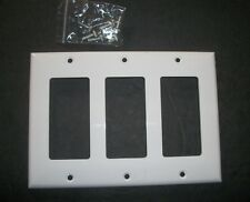 3 Gang  DECORA  WHITE   Plastic Wall Switch Plate Cover  ** Brand New w/ Screws
