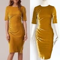 STUNNING LK BENNETT YELLOW KARA VELVET DRESS SIZE 12 EU 40 US 8 RRP £375