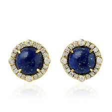 Round Shape Blue Lapis Lazuli Stud Earrings Diamond 18k Yellow Gold Jewelry Gift