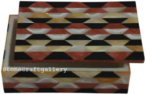"6"" x 4"" Marble jewelry Box Handmade semi precious Stones Pietradura Work"