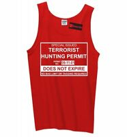 Terrorist Hunting Permit Funny Mens Tank Top Anti Isis Muslim Army Sleeveless Z3