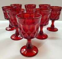 Set of 8 Beautiful Noritake Perspective Ruby Red Wine Glasses Excellent Cond