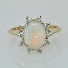 Ladies 14k Yellow Gold Opal & 1/4 Ctw Diamond Halo Gemstone Estate Ring