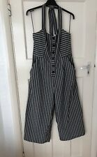 Zara Grey Striped Culotte Jumpsuit Nautical Halterneck Size L