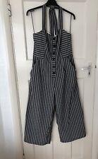 45ff4c71dc Zara Grey Striped Culotte Jumpsuit Nautical Halterneck Size L