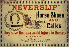 NEVERSLIP HORSE SHOES AND CALKS ADVERTISING METAL SIGN