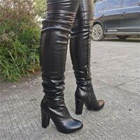 Mode Damen Rund Blockabsatz Kniehoch Stiefel Reiterstiefel Reitstiefel 45/46/47