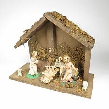 Vintage Nativity Plastic Figures Wood Moss Creche 7 Inch Christmas Decoration