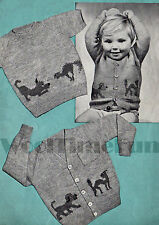 Vintage Knitting Pattern Child's Jumper & Cardigan. Cute Cat & Dog Design.