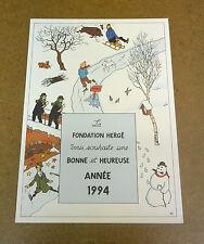 HERGE - CARTE DE VOEUX - 1994 - SCENE HIVERNALE + SIGNATURE RODWELL (BE)
