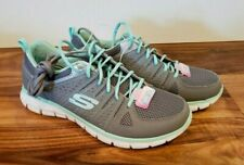 NEW Women's SKECHERS Gray Mint Green Look Book Lace Up Athletic Shoes 10 US