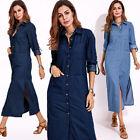 ZANZEA Women Denim Blue High Split Long Shirt Dress Buttons Down Lapel Dress