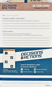 """New ACTION DAY Decisions PLANNING PAD For Challenges Problems Plans 5"""" x 8"""" in"""